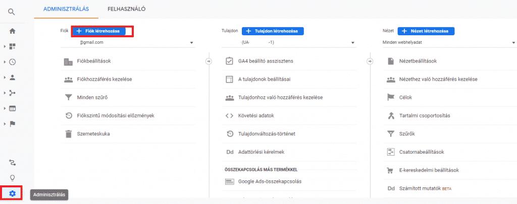 Google Analytics fiók létrehozása