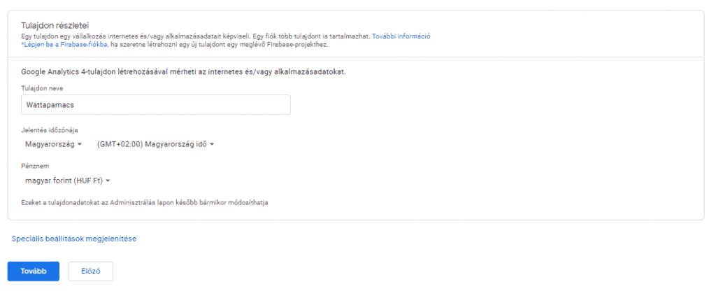 A Google Analytics-fiók beállításának részletei